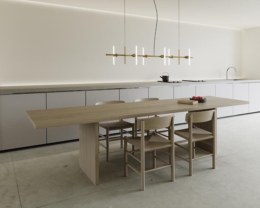 Lustre minimaliste en laiton à 6 ampoules. Design par BEEM.