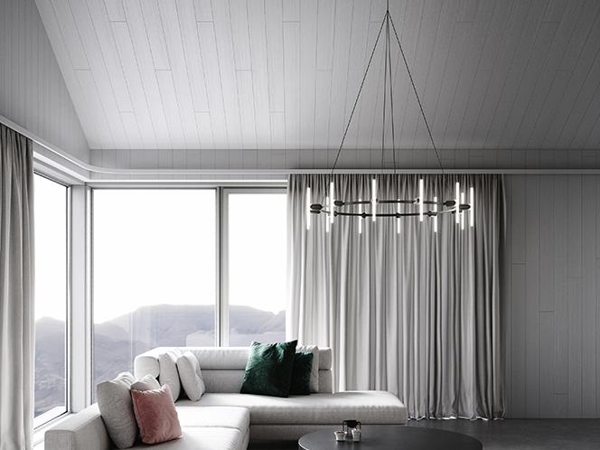 Lustre rond 12 ampoules. Design par BEEM.