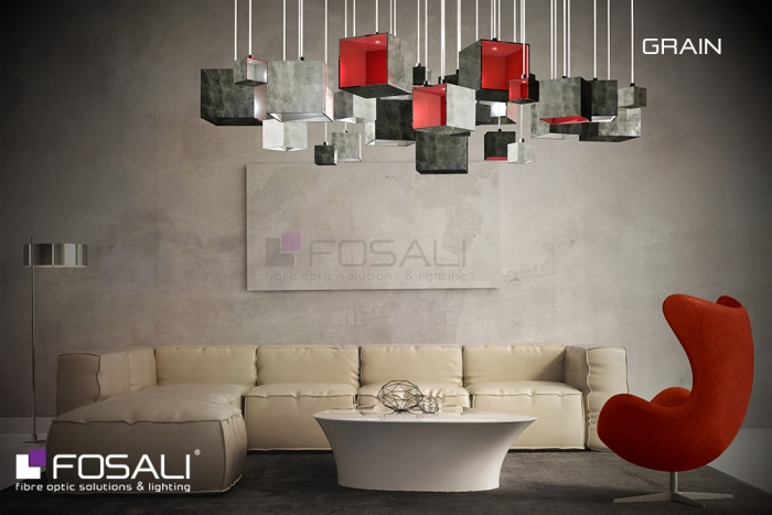 L'intriguante installation lumineuse Grain par Fosali, fabricant artisanal de luminaires en fibre optique.