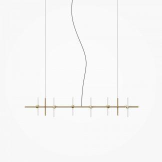 Lustre 6-Ampoules AERIEL Laiton