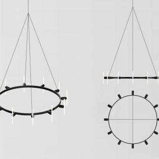 Lustre Rond 12-Ampoules Acier Noir