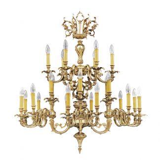Lustre 24-Ampoules en Laiton & Cristal PALACE