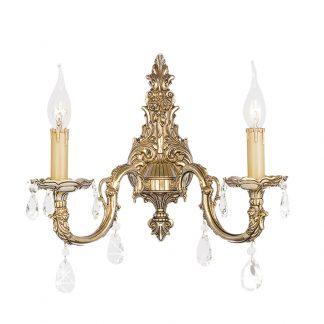 Applique 2-Ampoules en Laiton & Cristal PARIS
