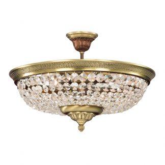 Plafonnier 4-Ampoules en Laiton & Cristal VASILIOS