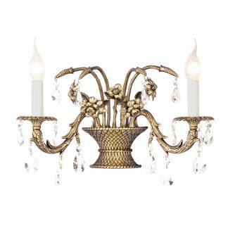 Applique en Murale 2-Ampoules en Laiton & Cristal VALENCIA