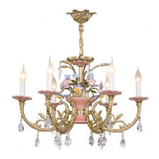 Lustre 6-Ampoules en Laiton, Céramique & Cristal VALENCIA TER