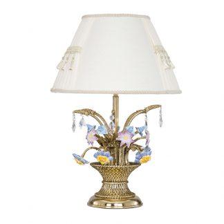 Lampe à Poser en Laiton, Céramique & Cristal VALENCIA