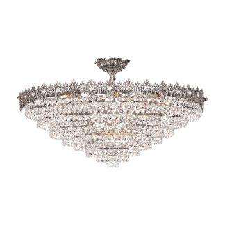 Plafonnier 11-Ampoules en Laiton et Cristal DALI