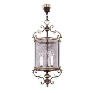 Lanterne 3-Ampoules en Laiton & Verre PAVEL H70 cm