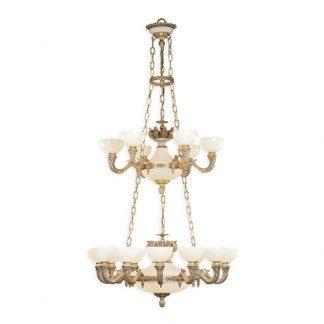 Lustre 23-Ampoules en Laiton & Albâtre IMPERIAL