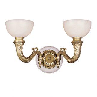 Applique Murale 2-Ampoules en Laiton & Albâtre IMPERIAL