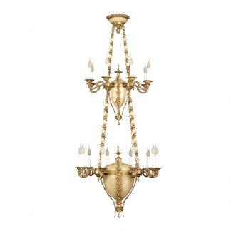 Lustre 22-Ampoules en Laiton & Albâtre DANUBIO