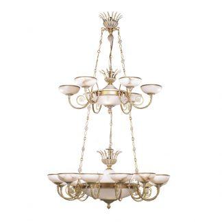 Lustre 22-Ampoules en Laiton & Albâtre MINERVA