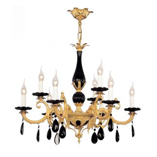 Lustre 9-Ampoules en Laiton & Ceramique CORA BIS