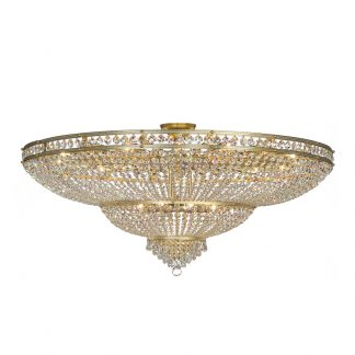 Plafonnier 24-Ampoules en Laiton & Cristal HONNA