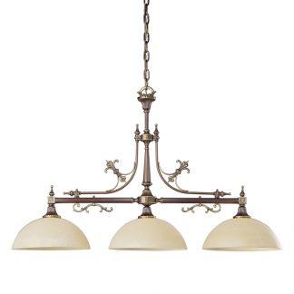 Lustre 4-Ampoules en Laiton & Verre Blanc CASINO