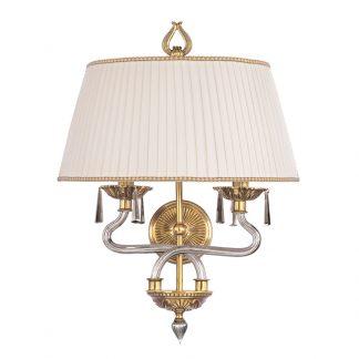 Applique 2-Ampoules en Laiton, Verre & Cristal ARTEMIS