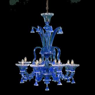 Lustre en Verre Soufflé Bleu & Transparent LOLLI 8-Bras