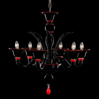 Lustre en Verre Soufflé Noir & Rouge NICOLINI 6-Bras
