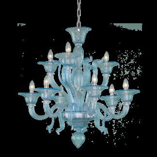 Lustre en Verre Soufflé Turquoise ORLANDI 9-Bras