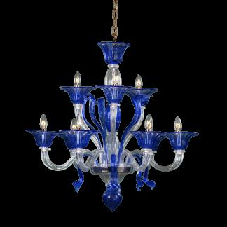 Lustre en Verre Soufflé Bleu & Transparent ROCCA 9-Bras